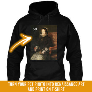 Renaissance historical F-30 female pet portrait