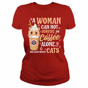 A woman needs coffee and cats