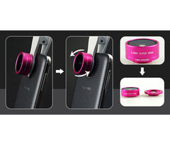 Champagne - Universal 3-in-1 Easy Clip-On Wide-Angle, Macro, Fish Eye Lenses for Phones and Tablets