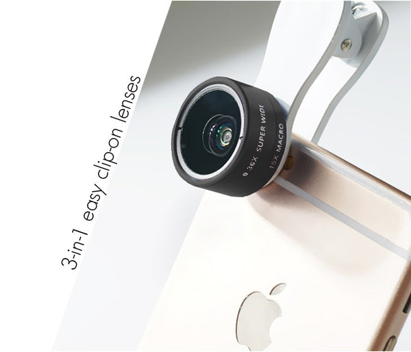 Black - Universal 3-in-1 Easy Clip-On Wide-Angle, Macro, Fish Eye Lenses for Phones and Tablets