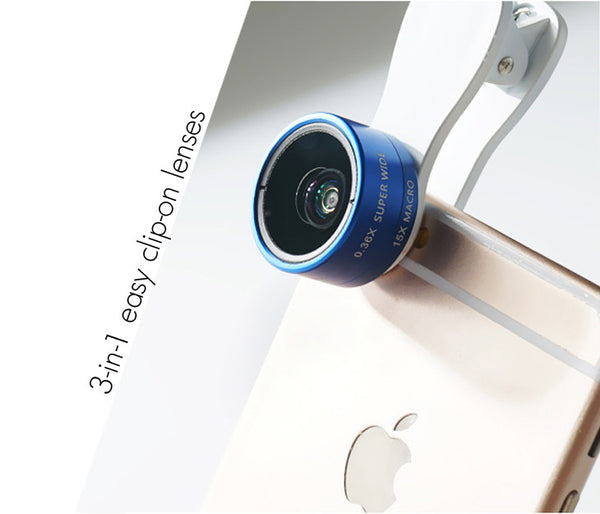 Blue - Universal 3-in-1 Easy Clip-On Wide-Angle, Macro, Fish Eye Lenses for Phones and Tablets