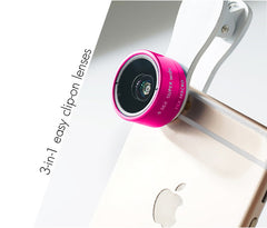 Rose Red - Universal 3-in-1 Easy Clip-On Wide-Angle, Macro, Fish Eye Lenses for Phones and Tablets