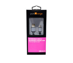 Reversible USB to Reversible Micro USB Cable (Nylon Braided, 2m/6,5ft, Aluminium) with Free Cable Tie