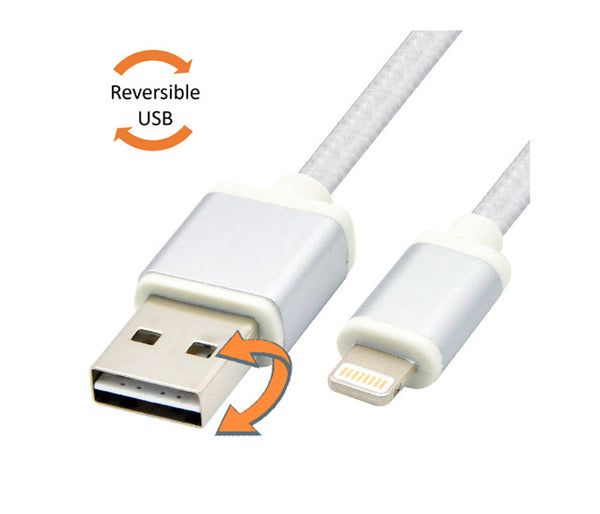 Reversible USB to Lightning Cable (Nylon Braided, 2m/6,5ft, Aluminium Housing) with Free Cable Tie