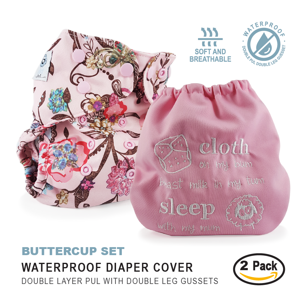 Waterproof Double Gusset Embroidered Cloth Diaper Covers Baby
