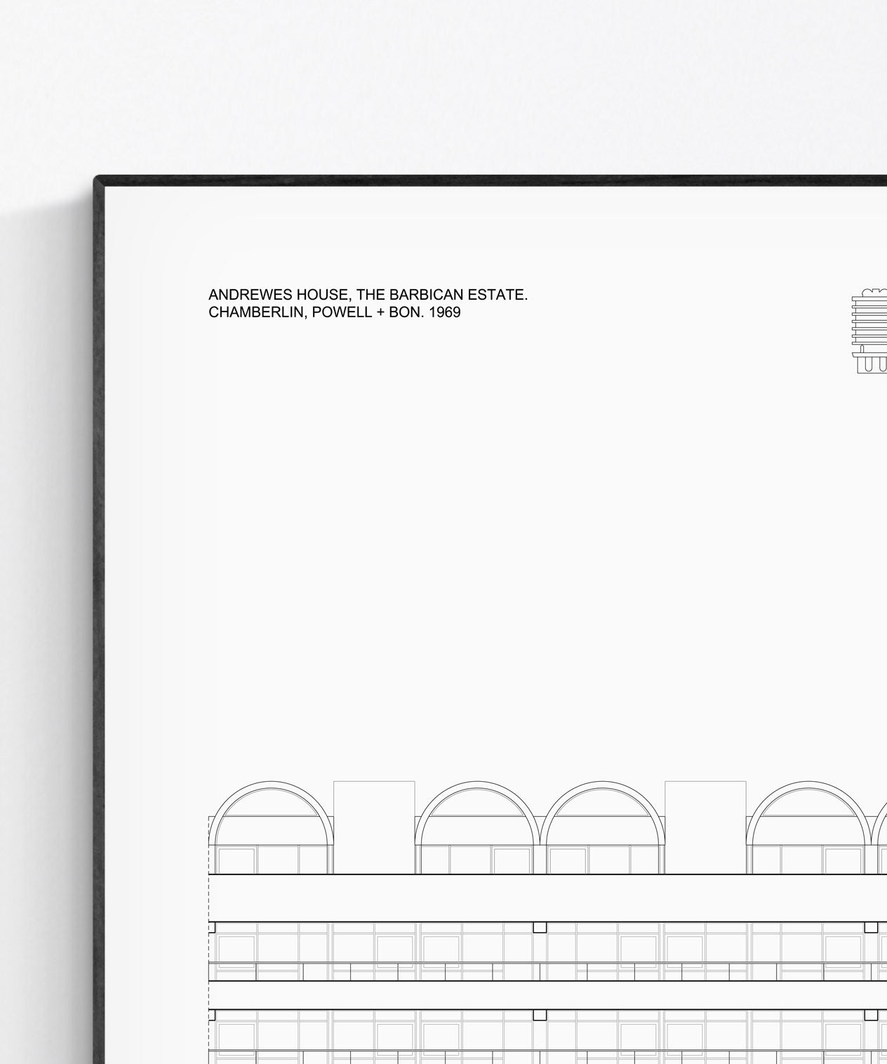 Andrewes House at the Barbican Architecture Print by Studio Romuu - Elevation