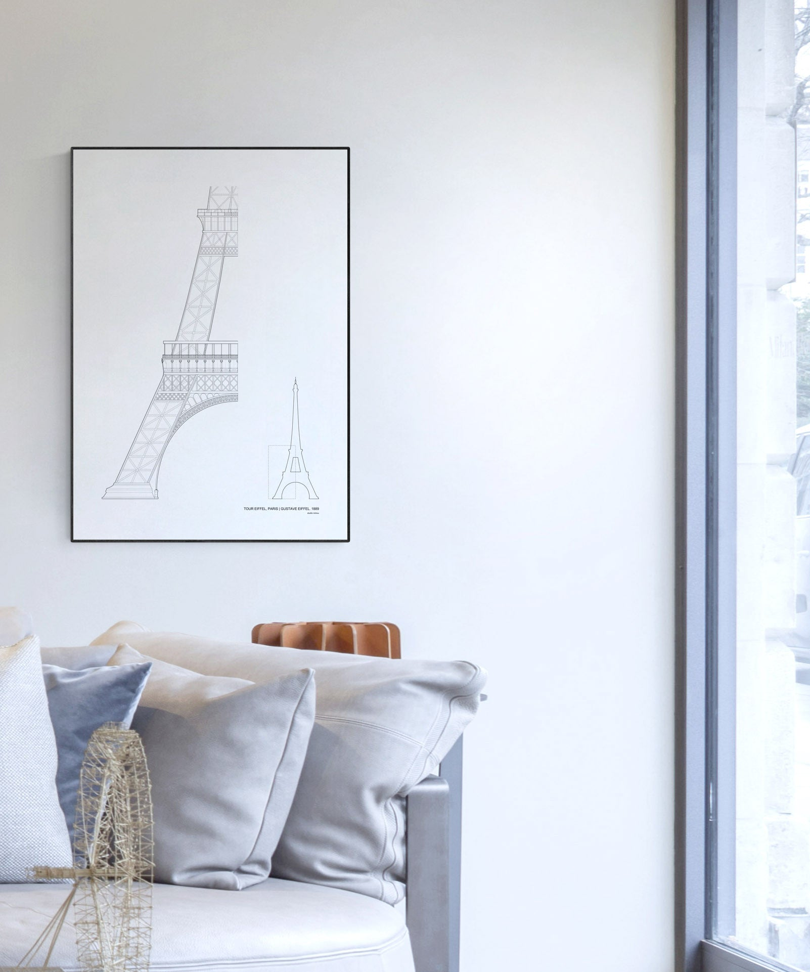 The Eiffel Tower Architecture Print by Studio Romuu - Interior