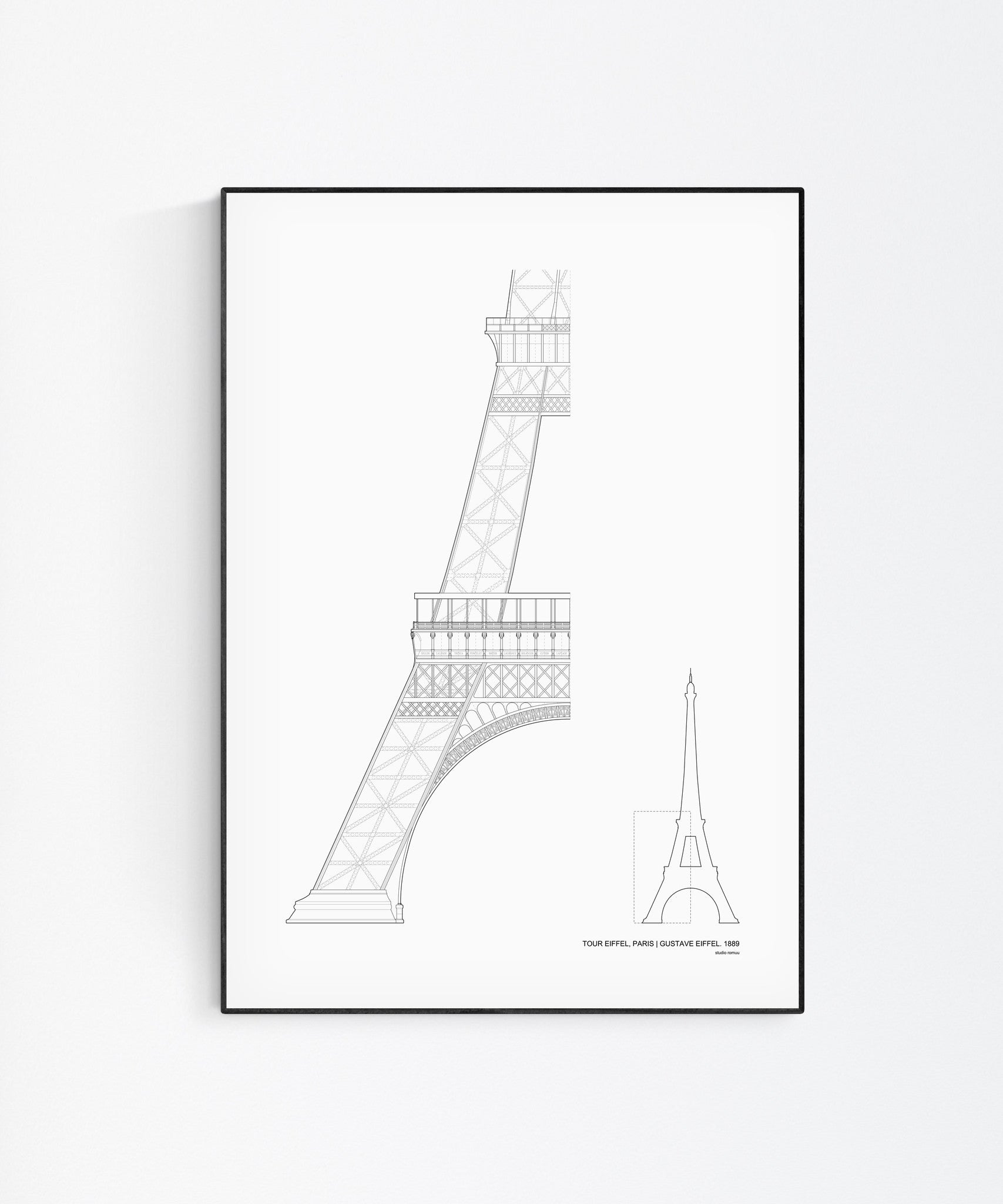 The Eiffel Tower Architecture Print by Studio Romuu - Wall Art