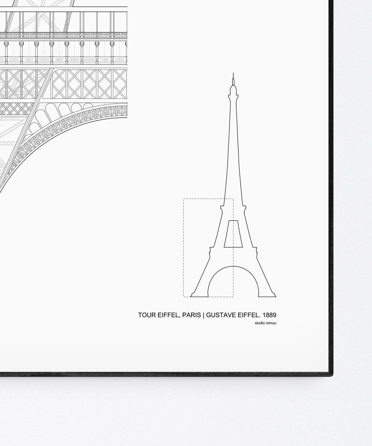 The Eiffel Tower Architecture Print by Studio Romuu - Detail