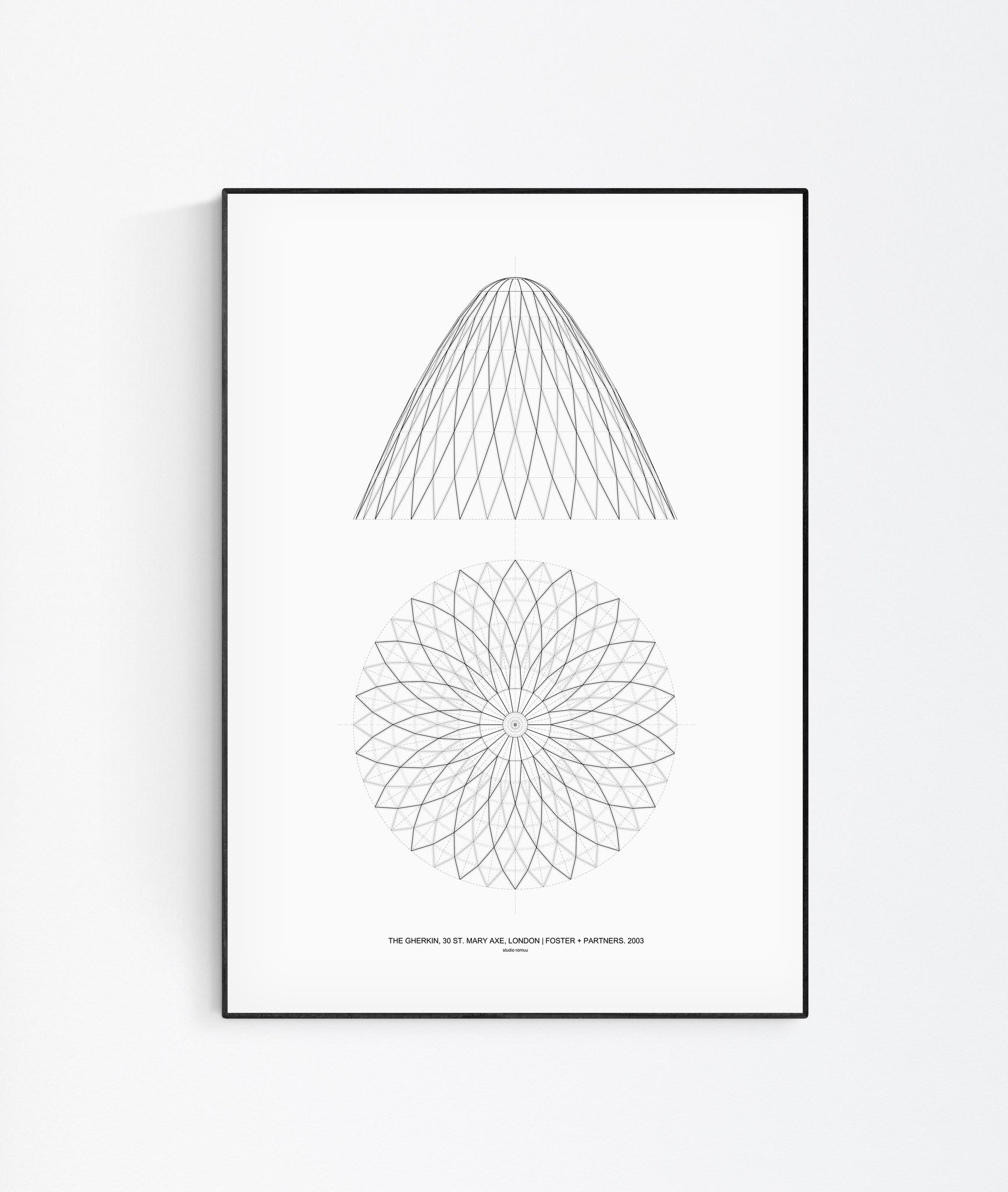 The Gherkin Architectural Print by Studio Romuu - Wall Art