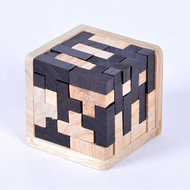 Creative 3D Wooden Cube Puzzle Ming Luban Interlocking Educational Toys For Children Kids Brain Teaser Early Learning Toy Gift