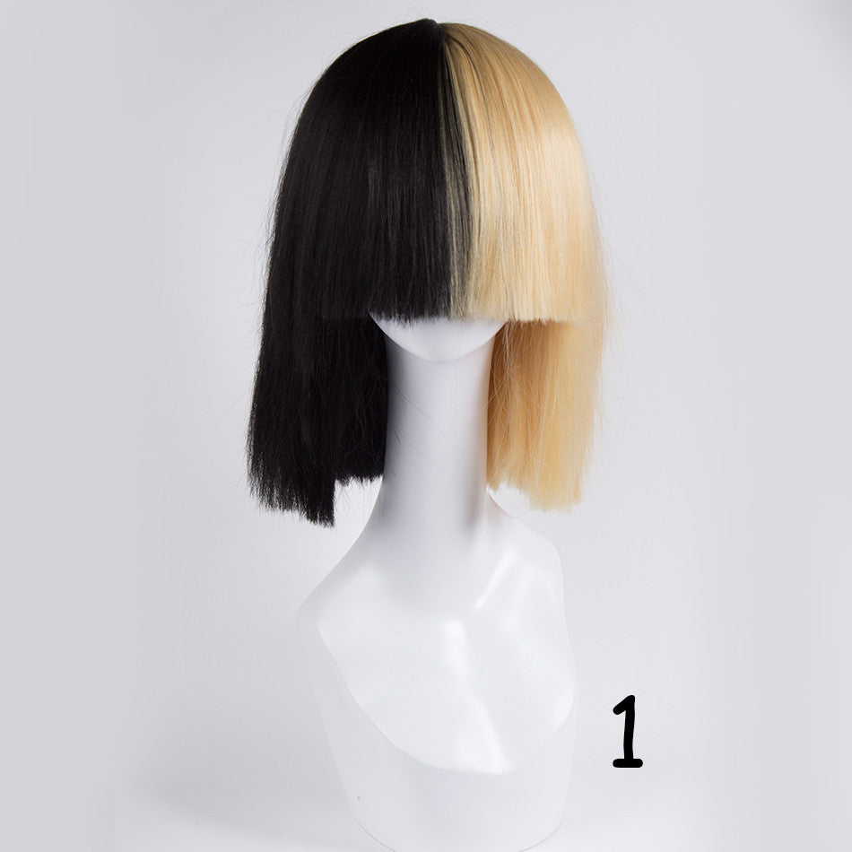 Blonde Sia wig Thick Blunt Bob Wig Half Blonde and Black 2 Tone Cosplay  Costume Wig 589e83641