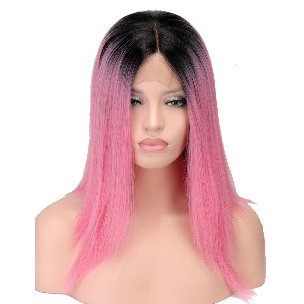 Qp Hair Black Pink Ombre Lace Front Wig Synthetic Bob Wigs For Black Women  Short HairStyles 95fbc271dd