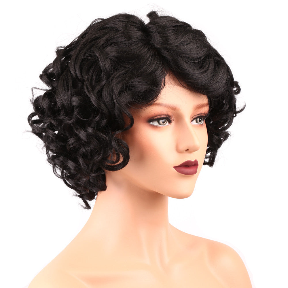 short Synthetic Wigs For Black Women Bob Style Curly Synthetic Lace Front  Wig Side L Part d257db2d3