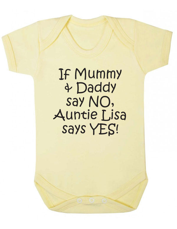 3a1363eb Personalised Auntie Says Yes Babygrow – CheekyBabyTees Ltd