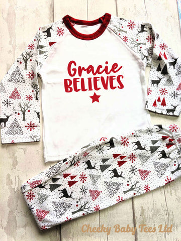 Personalised Believes Christmas Pyjamas