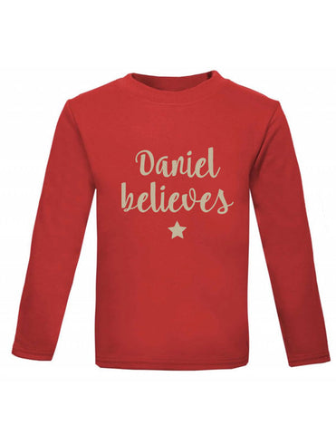 Personalised Believes Long Sleeved Christmas Top