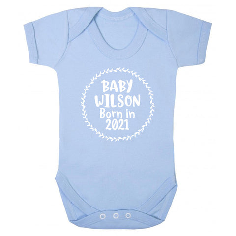 Personalised Born in 2021 Baby Grow