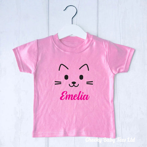 Cat Face Personalised T Shirt