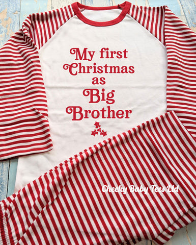 First Christmas as Big Brother Pyjamas Striped
