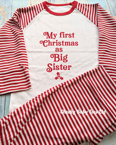 First Christmas as Big Sister Pyjamas Striped