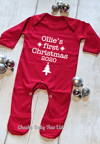 Personalised Baby's 1st Christmas Sleepsut