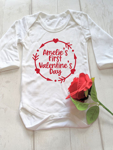 Personalised First Valentine's Day Long Sleeved Babygrow