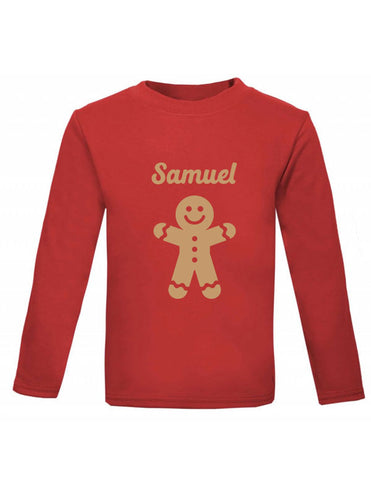 Personalised Gingerbread Man Long Sleeved Christmas Top