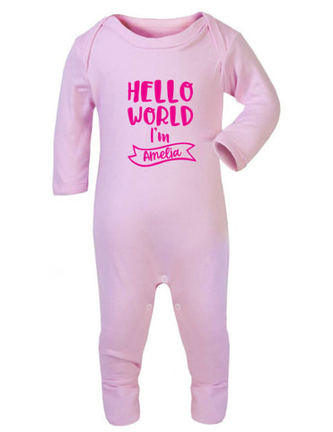 Hello World I'm Personalised Sleepsuit