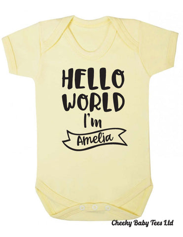 Hello World I'm Personalised Baby Grow