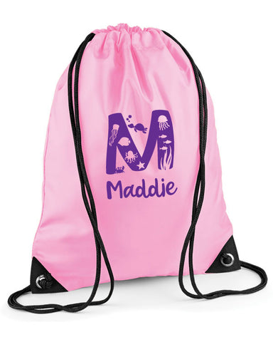 Personalised Initial Sea Life Swimming Bag