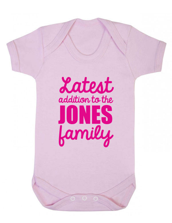 Personalised Latest Addition Surname Baby Romper Hospital Outfit New Baby Star