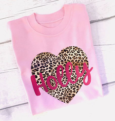 Personalised Leopard Print Heart Girls' T Shirt