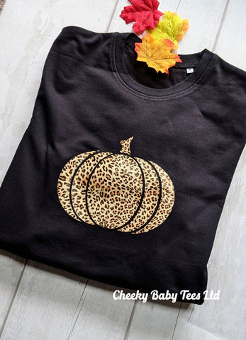 Leopard Print Pumpkin Ladies' Sweatshirt