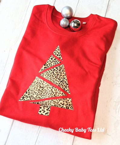 Leopard Print Christmas Tree Ladies' Sweatshirt
