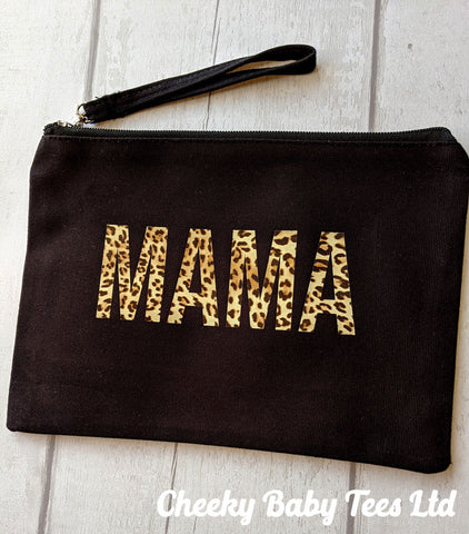 MAMA Leopard Print Make Up Pouch Bag