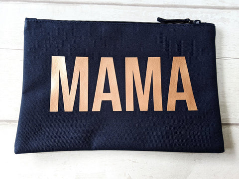 MAMA Rose Gold Print Pouch Bag
