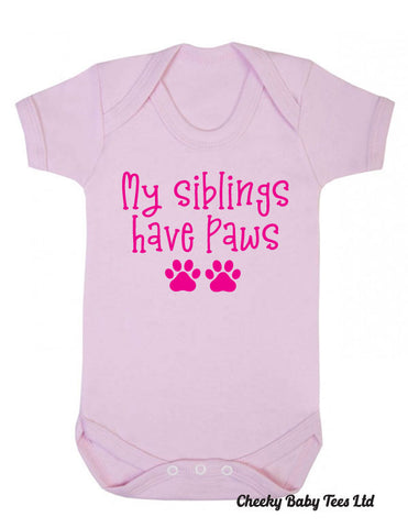 My Siblings Have Paws Baby Grow