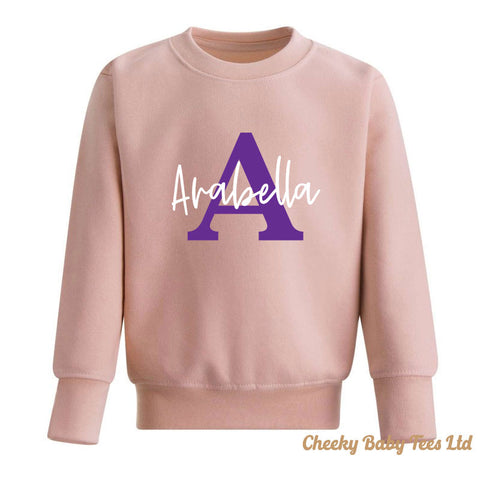 Personalised Name Over Initial Kids' Sweatshirt