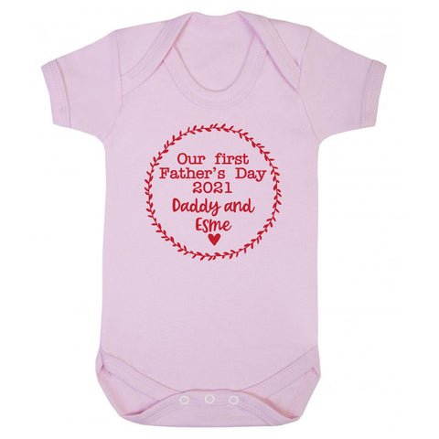Personalised Our First Father's Day Baby Grow