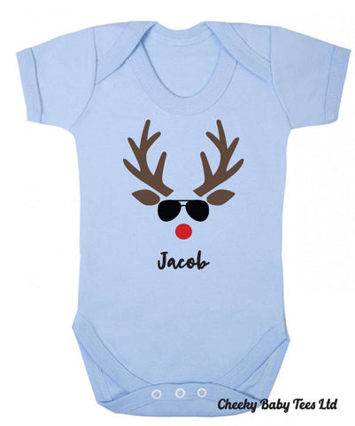 Personalised Reindeer Face Baby Grow
