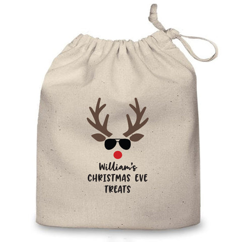 Personalised Christmas Eve Bag (Reindeer Face)