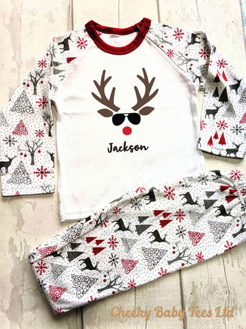 Reindeer Face Kids' Personalised Christmas PJs