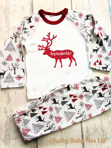 Personalised Reindeer Kids' Christmas Pyjamas