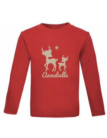 Reindeer Personalised Long Sleeved Top