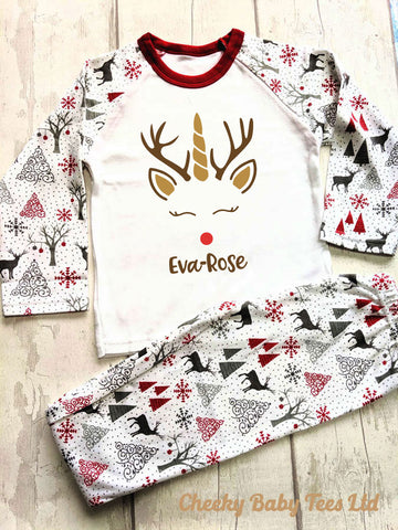 Reindeer Unicorn Personalised Christmas PJs