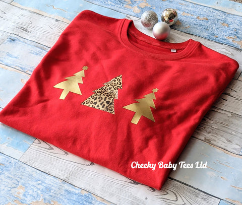 Gold Leopard Christmas Tree Sweatshirt