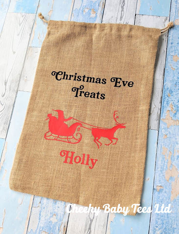 Personalised Jute Christmas Eve Bag (Santa Sleigh)