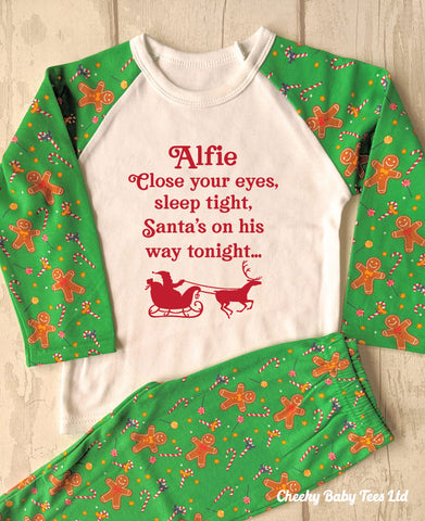 Santa's on his Way Gingerbread Man Christmas PJs