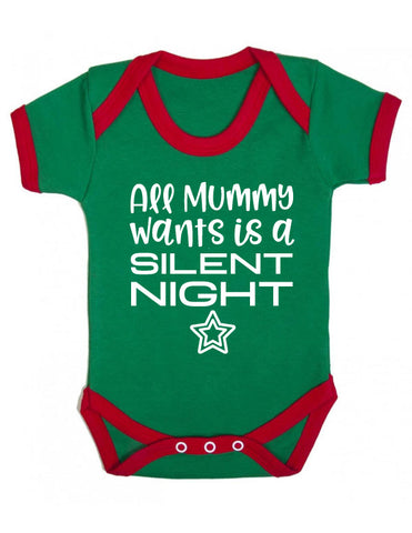 Silent Night Funny Christmas Baby Grow